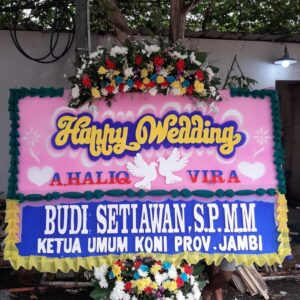 Papan Bunga Ucapan Happy Wedding
